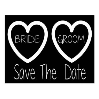 Black And White Save The Date Wedding Postcard