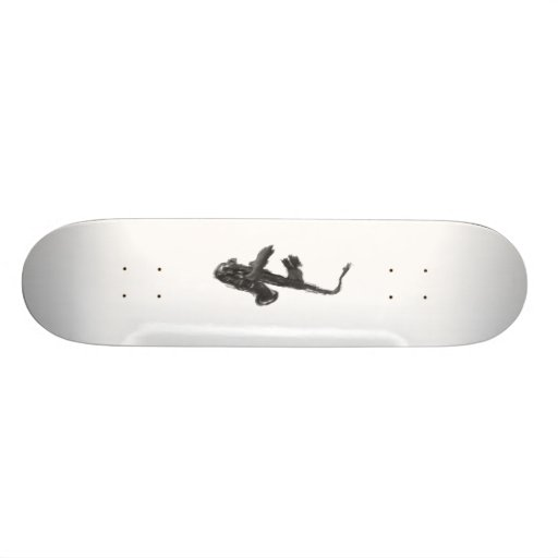 Black and white saxophone and two hands custom skateboard