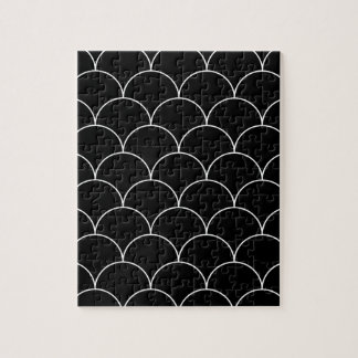 Black and white Scales pattern Jigsaw Puzzle
