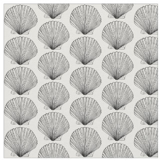 Black and White Scallop Shell Fabric