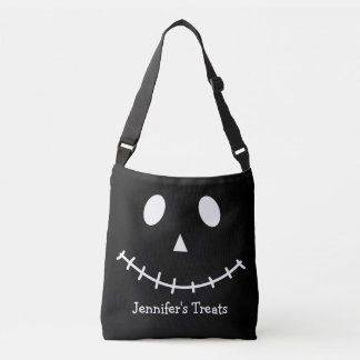 Black and White Scary Jack O Lantern Halloween Pum Crossbody Bag