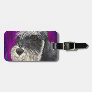 Black and White Schnauzer with Purple Background Luggage Tag