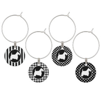 Black and White Scottie Wine Glass Charms