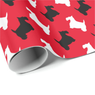 Black and White Scotties Your Background Color Wrapping Paper