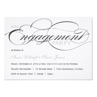 Black and White Script Engagement Party Invitation