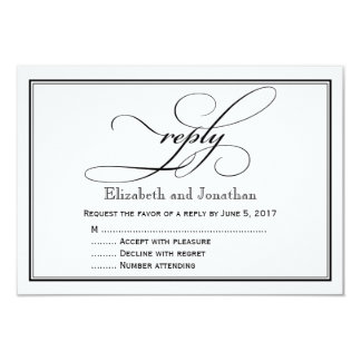 Black and White Script Wedding Reply Card