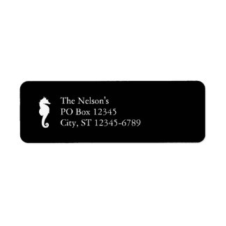 Black and White Seahorse Return Address Label