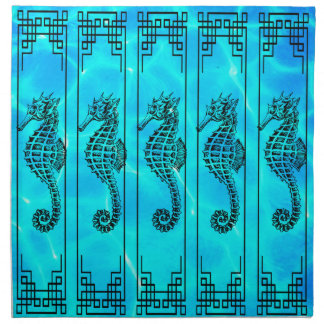 Black and White Seahorse - Water Effect Napkin