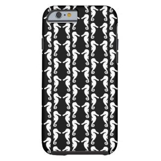 Black and White Seahorses Pattern. Tough iPhone 6 Case