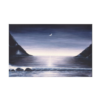 Black and white seascape painting on canvas