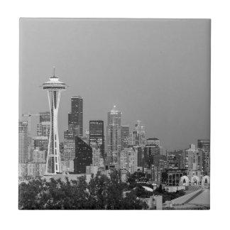 Black and White Seattle cityscape Ceramic Tile