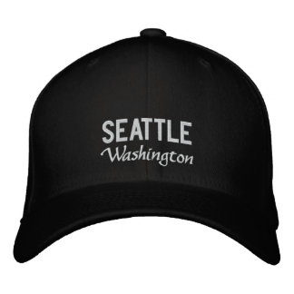 Black and White Seattle Washington Embroidered Hat