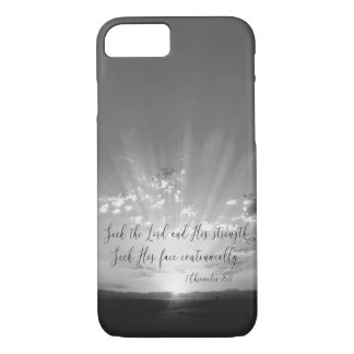 Black and White Seek the Lord Bible Verse iPhone 8/7 Case