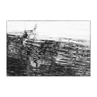 Black and White Semi Abstract Ripples on Water Canvas Print
