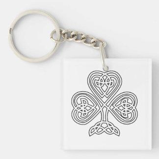 Black and White Shamrock Double-Sided Square Acrylic Key Ring