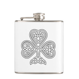 Black and White Shamrock Hip Flask