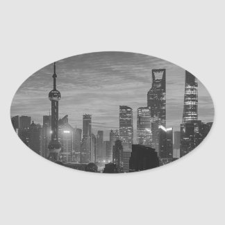 Black and White Shanghai Oval Sticker