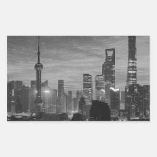 Black and White Shanghai Rectangular Sticker
