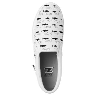 Black and White Shark Slip on Shoes Printed Shoes
