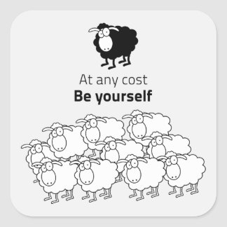 Black and white sheep square sticker