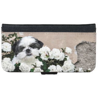 Black and white Shih Tzu in white roses iPhone 6 Wallet Case