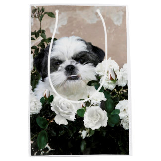 Black and white Shih Tzu Medium Gift Bag