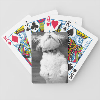 Black and White Shih-Tzu Puppy Poker Deck