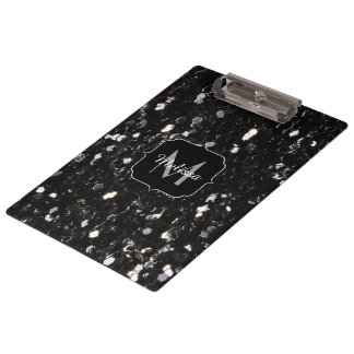 Black and white shiny glitter sparkles Monogram Clipboard