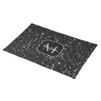 Black and white shiny glitter sparkles Monogram Placemat
