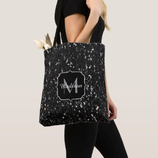 Black and white shiny glitter sparkles Monogram Tote Bag