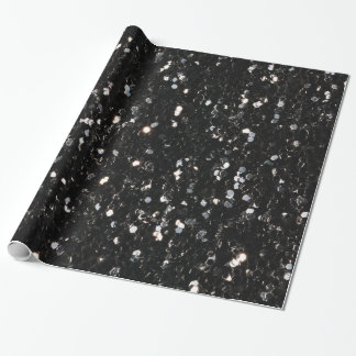Black and white shiny glitter sparkles wrapping paper