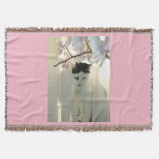 Black and White Short Haired Kitten Throw Blanket