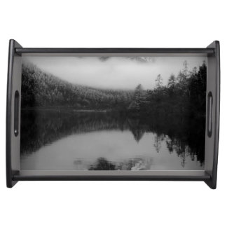 Black and White Sichuan Mountains Serving Tray