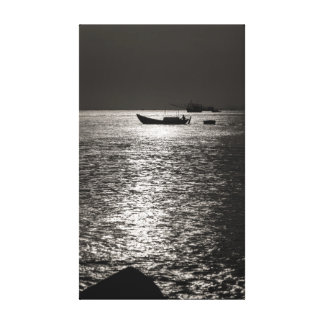 Black And White Silhouette Fishing Boat Vietnam Canvas Print