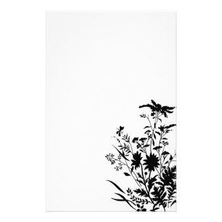 Black and White Silhouette Floral...stationery
