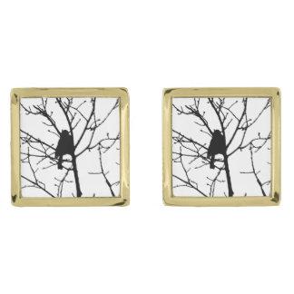 Black and White Silhouette of chickadee in a tree Gold Finish Cuff Links