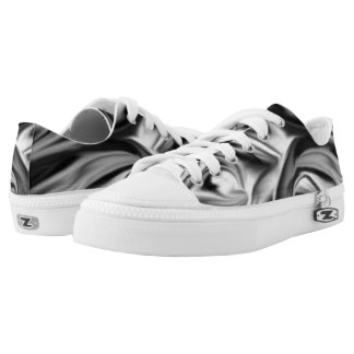 Black and White Silk Folds Printed Shoes
