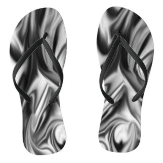 Black and White Silk Folds Thongs