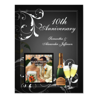 Black and White Silver Champagne Photo Anniversary Card