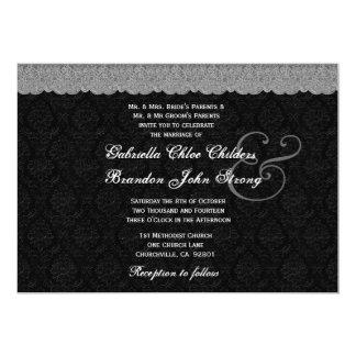 Black and White Silver Lace Wedding 13 Cm X 18 Cm Invitation Card