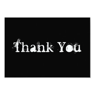 Black and White Simple Grungy Thank You Card