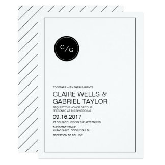 Black and white simple modern wedding invitation