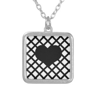 Black and white simple pattern silver plated necklace