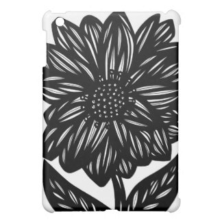 Black and White Single Big Flower Case For The iPad Mini