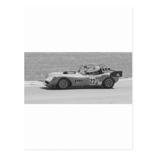 Black and white single seater race car postcard