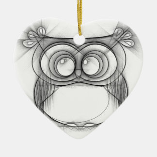 Black and White Sketch of Owl Ceramic Heart Decoration