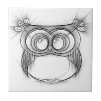 Black and White Sketch of Owl Ceramic Tile