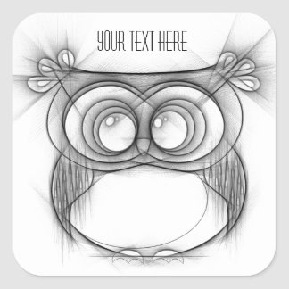 Black and White Sketch of Owl Square Sticker