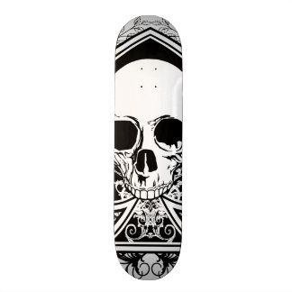 Black and White Skull Ace Skateboard