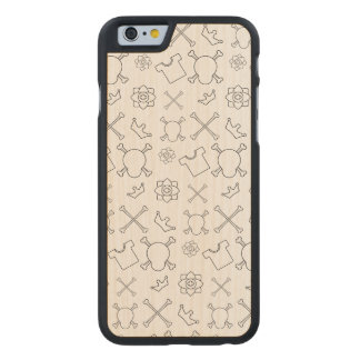 Black and white Skull and Bones pattern Carved Maple iPhone 6 Case